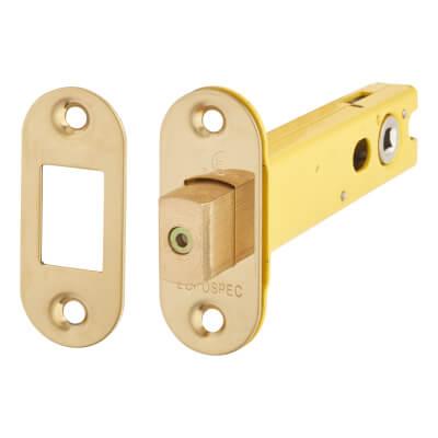Altro 5mm Tubular Bathroom Deadbolt - 103mm Case - 82mm Backset - Radius - PVD Brass