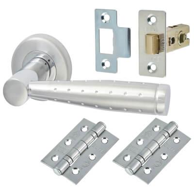 M Marcus Roda Door Handle - Door Kit - Satin/Polished Chrome