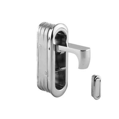 Door Edge Finger Pull - 58 x 18 x 18mm - Polished Chrome