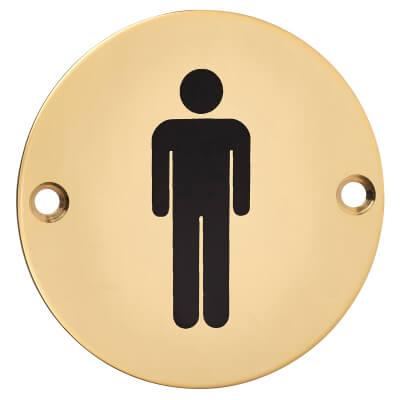 Mens Toilet Sign - 75mm - Polished Brass)