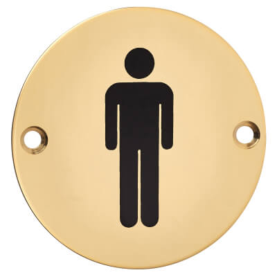 Mens Toilet Sign - 75mm - Polished Brass)