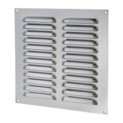 Hooded Louvre Vent - 229 x 229mm - 9975mm2 Free Air Flow - Polished Stainless