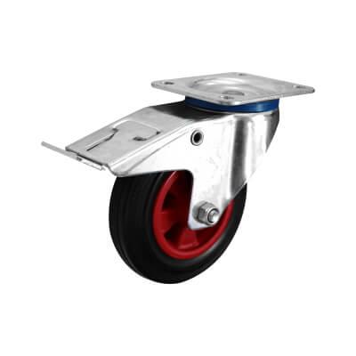 Coldene Heavy Duty Industrial Castor - Swivel Braked - 205kg Maximum Weight - Black/Red)