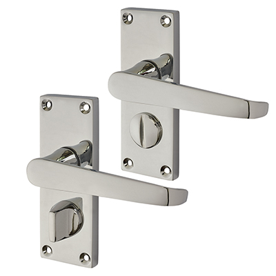Touchpoint Budget Straight Door Handle - Privacy Set - Polished Chrome