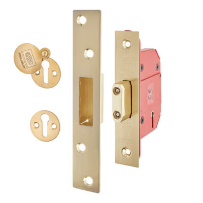 UNION® 2100S Strongbolt BS3621:2007 5 Lever Deadlock - 68mm Case - 45mm Backset - Brass