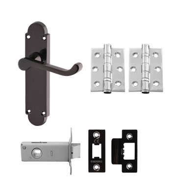 Aglio Victorian Summer Handle Door Kit - Latch Set - Black Nickel