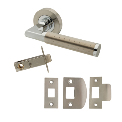 Excel Delta Door Handle - Privacy Set - Satin Nickel/Polished Chrome