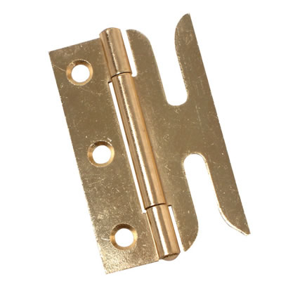 Slotted Sash Window Hinge - 75mm - Brass Plated - Pair