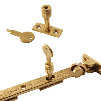 Locking Casement Stay Pin - Polished Brass