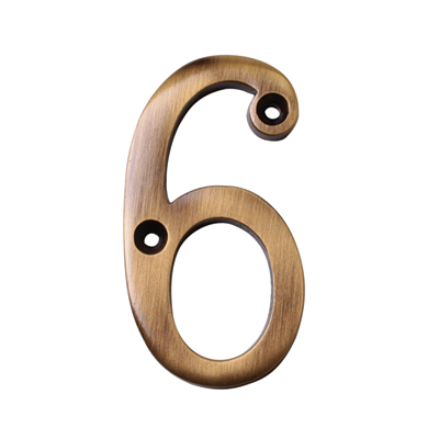 M Marcus 76mm Numeral - 6 - Antique Brass