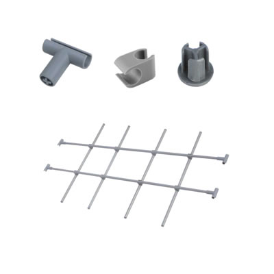 Motion Connecting Clip, End Cap, Inter-dividing Tube and T Connector - Grey