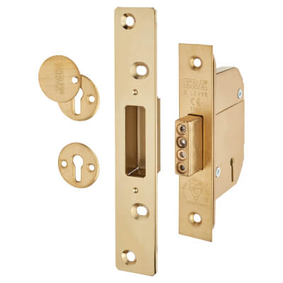 ERA® Fortress BS3621:2007 5 Lever Deadlock - 64mm Case - 44mm Backset - Brass Effect