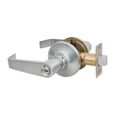 Touchpoint Hotel Door Lever Set - Bathroom - Satin Chrome