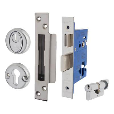 BS8621 Euro Sashlock & Thumbturn Cylinder - Case 65mm - Backset 44mm - Polished Stainless - Square )