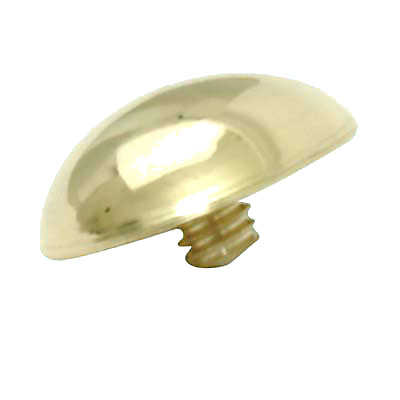 Mirror Screw Threaded Cap - Domed - 13mm - Brass Plated)
