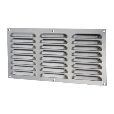 Hooded Louvre Vent - 305 x 152mm - 9975mm2 Free Air Flow - Polished Stainless
