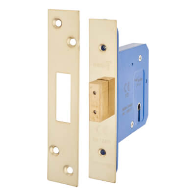A-Spec Architectural 3 Lever Deadlock - 78mm Case - 57mm Backset - PVD Brass