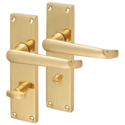 Aglio Victorian Straight Door Handle - Bathroom Set - Polished Brass
