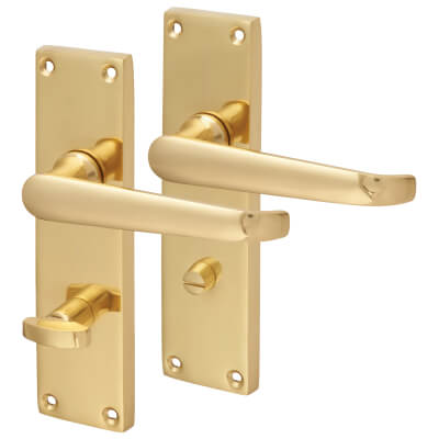 Aglio Victorian Straight Door Handle - Bathroom Set - Polished Brass