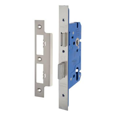 A-Spec Architectural DIN Euro Sashlock - 85mm Case - 60mm Backset - Satin Stainless)