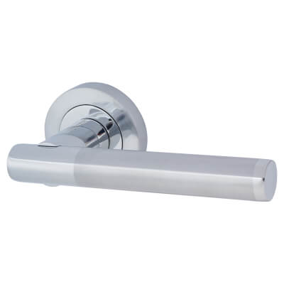 Touchpoint Bella Lever Door Handle on Rose - Polished/Satin Chrome)