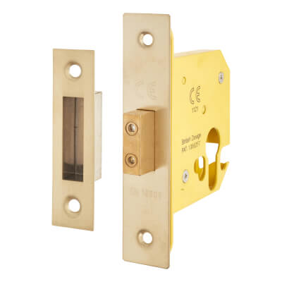 Altro Euro Deadlock - 78mm Case - 57mm Backset - PVD Brass