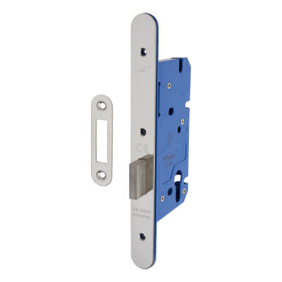 A-Spec Architectural DIN Euro Deadlock - 85mm Case - 60mm Backset - Radius - Polished Stainless