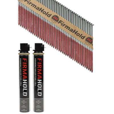 TIMco 34° FirmaHold Clipped Head Nail and Gas - First Fix - 3.1 x 90mm - HDGV - 2 Fuel Cells