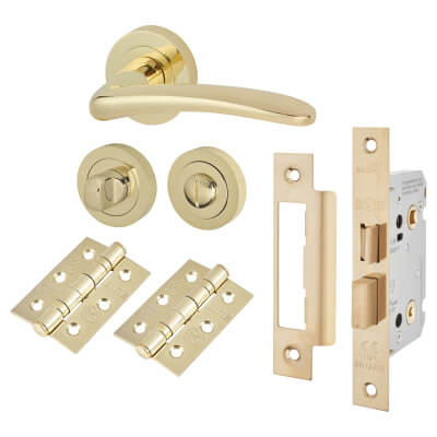 Touchpoint Eloise Lever Door Handle - Bathroom Lock Kit - Polished Brass