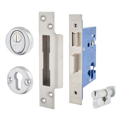 A-Spec BS8621 Euro Sashlock & Thumbturn - 78mm Case - 57mm Backset - Satin Stainless)