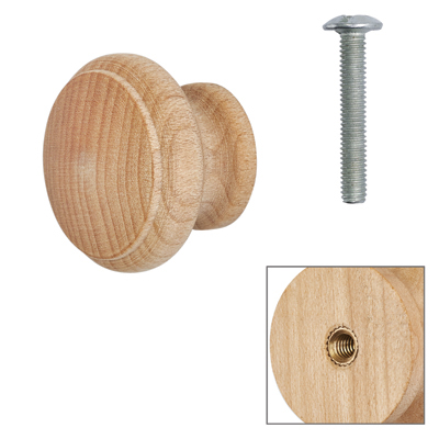 Cabinet Knob - Raw Maple - with Bolt & Insert - 25mm - Pack of 5