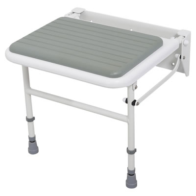 Nymas Padded Folding Shower Seat With Legs - White)