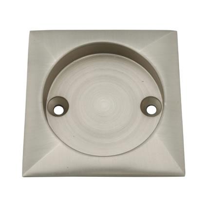 KLÜG Square Screw Fixed Flush Handle - 63 x 63mm - Satin Nickel
