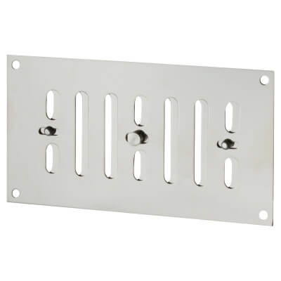 Raised Hit & Miss Pattern Vent - 165 x 89mm - 1960mm2 Free Air Flow - Polished Chrome