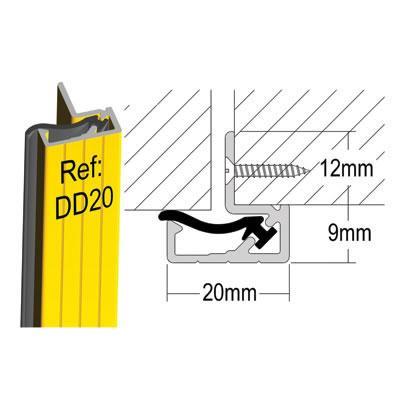 Stormguard Double Door Seal DD20 - 2100mm - Silver