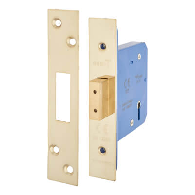 A-Spec Architectural 5 Lever Deadlock - 78mm Case - 57mm Backset - PVD Brass