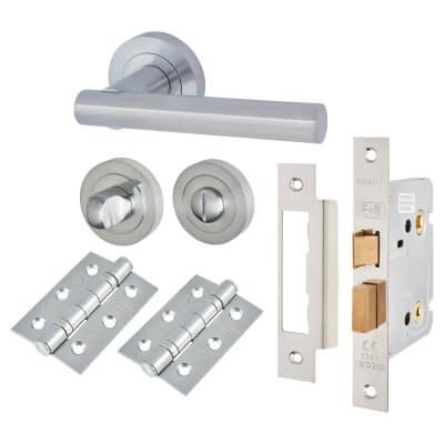 Touchpoint Bella Lever Door Handle on Rose Kit - Bathroom Lock - Satin Chrome)