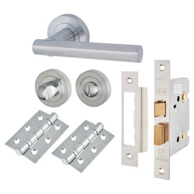 Touchpoint Bella Lever Door Handle on Rose Kit - Bathroom Lock - Satin Chrome