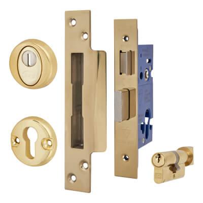 BS8621 Euro Sashlock & Thumbturn Cylinder - Case 65mm - Backset 44mm - PVD Brass - Square Forend)