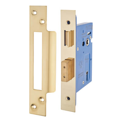 A-Spec Architectural 3 Lever Sashlock - 78mm Case - 57mm Backset - PVD Brass