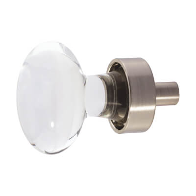 Aglio Oval Glass Cabinet Knob - 40mm - Satin Nickel