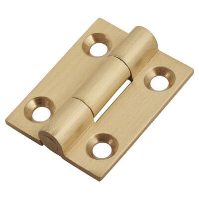Solid Drawn Hinge - 25 x 19 x 1.45mm - Satin Brass