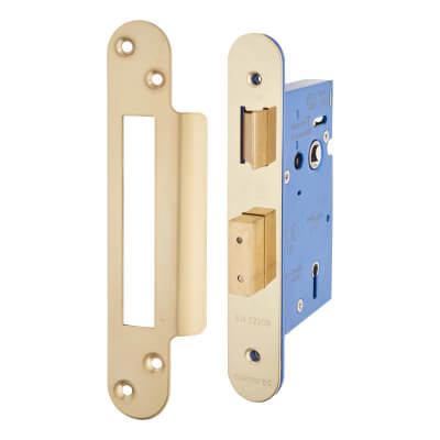 A-Spec Architectural 5 Lever Sashlock - 65mm Case - 44mm Backset - Radius - PVD Brass