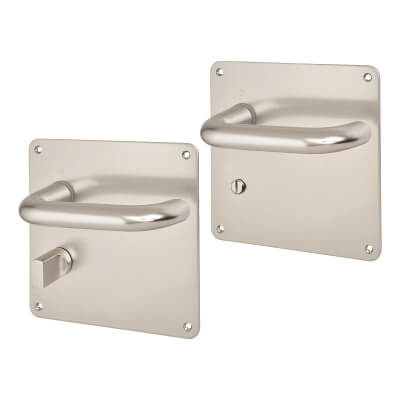 Altro 20mm Return to Door Handle - Bathroom Set - Aluminium