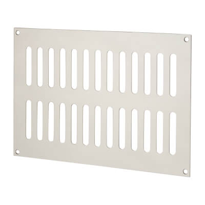 Plain Slotted Vent - 242 x 165mm - 6600mm2 Free Air Flow - Polished Stainless Steel