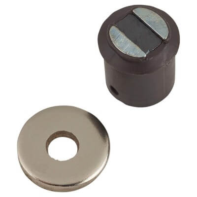 Round Tap-in Magnetic Catch - 9mm - Brown