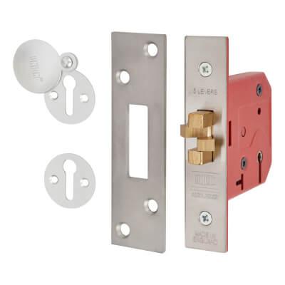 UNION® 2401 5 Lever Sliding Door Lock - 78mm Case - 57mm Backset - Satin Stainless