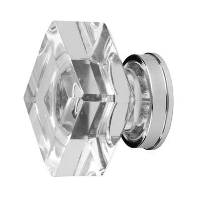 Aglio Square Glass Cabinet Knob - 33mm - Clear