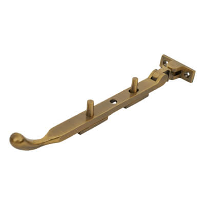 M Marcus Casement Window Stay Bulb End - 200mm/8 inch - Antique Brass