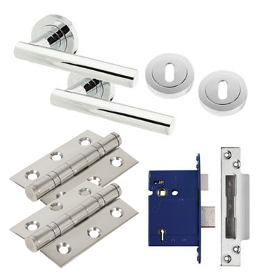 Touchpoint Bella Lever Door Handle on Rose Kit - BS3621 5 Lever Sashlock - Polished Chrome